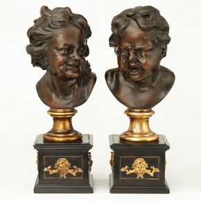'The Crying Child' and 'The Laughing Child', cast bronze heads, after François Roubiliac, 1750-1800. Museum nos. A.2-2008 and A.3-2008