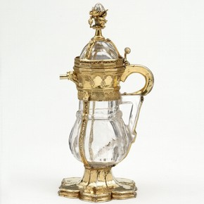Rock crystal ewer, with silver-gilt and enamel mounts, France, probably Paris, 1340–50. Museum no. 15-1864