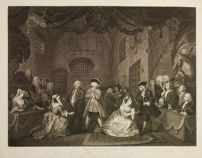 Engraved print of The Beggar's Opera by William Blake after Hogarth, London, England, about 1729