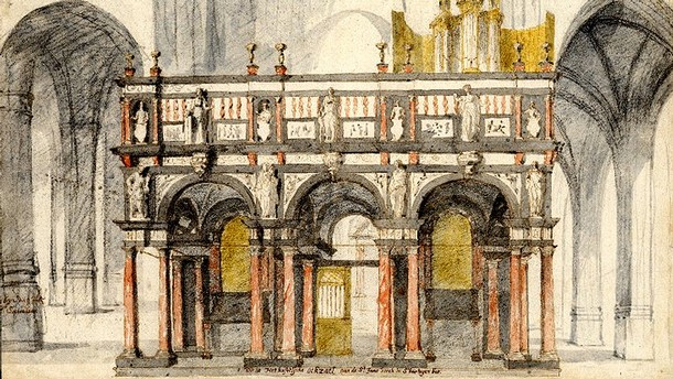 The choir screen of St John's Cathedral, 's-Hertogenbosch. Watercolour by Pieter Saenredam, 1632. © The Trustees of the British Museum.