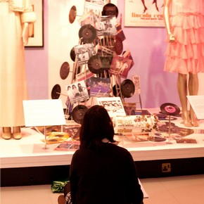 A student working in The Supremes exhibition, 2008.