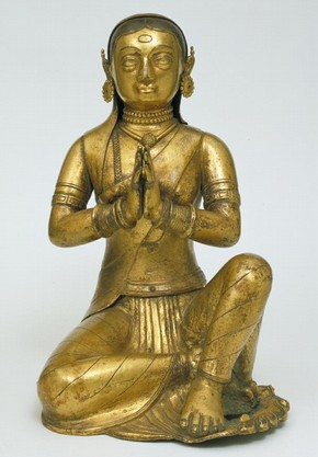 Figure 3 - Female donor figure, Negap, 1790-1810, gilt copper, 33 x 25 x 24 cm. Museum no. Im. 371-1914