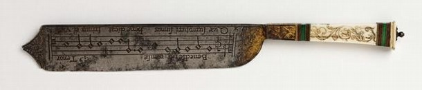 Figure 7 - A serving knife with notation, Italy, about 1550. Museum no. 310-1903
