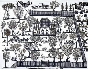 Figure 22 - Papercut, Anna Maria Garthwaite, England, 1707. Museum no. E.1077-1993