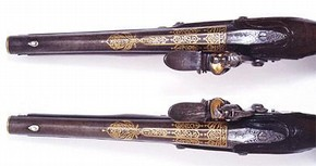 Top view of pistols made for Tipu Sultan. Museum no. IS.55-2005