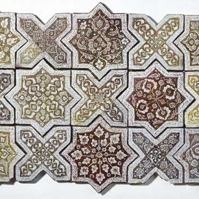 Panel of star and cross tiles, 1262, Museum no. 1837-1876