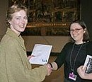 Winner Catherine Morris with Curator of Metalwork and Jewellery Megan Thomas