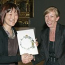 Theatre Museum&#39;s winner Akemi Sugawara with Theatre Museum Curator Cathy Haill 