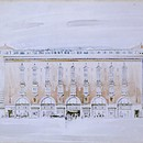 Daniel Neal, High Street Kensington, London. Ernest Berry Webber (1896–1963). Not built. Perspective by H.L.G. Pilkington, 1930. Pen and watercolour. Presented by Berry Webber