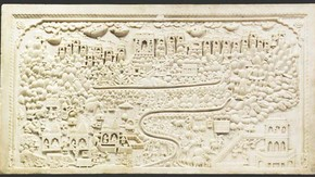 Panel depicting the pilgrimage sites of Sammeda-sikhara, Bihar, 19th century. Museum no. 541-1883