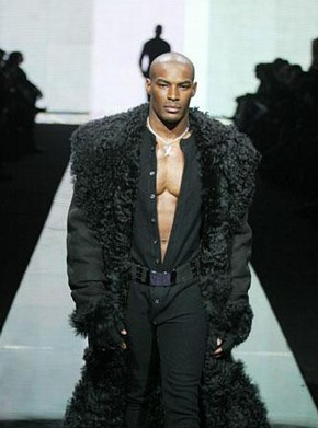 Sean &#39;Diddy&#39; Combs for Sean John, jumpsuit and fur-trimmed coat, Autumn/Winter 2003-4, photograph courtesy of Sean &#39;Diddy&#39; Combs for Sean John