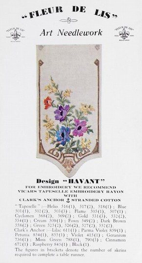 Printed plate with instructions for embroidery design for a table runner entitled 'Havant', Francis Johnston, 1930-1950. Museum no. AAD/2001/1/1 (click image for larger version)