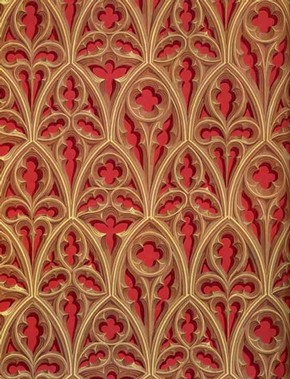 'Nowton Court', wallpaper (detail), reprint by Cole & Son (Wallpapers) Ltd., original about 1840, reprint about 1975. Museum no. E.642-1976