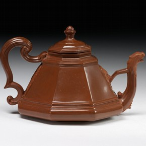 Red stoneware hexagonal teapot, moulded and partly polished on the wheel, Meissen, Germany, about 1715. Museum no. 108&amp;A-1940