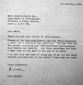 Letter to V&A from Bill Brandt, 1980