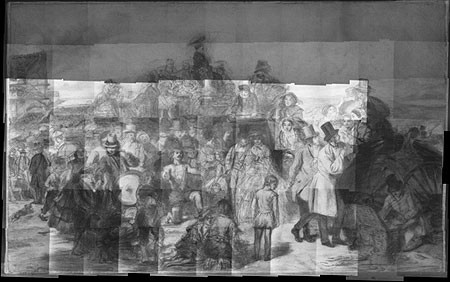 Infrared reflectogram mosaic of whole painting. The term mosaic is used to indicate that the image is a composite of details digitally stitched together