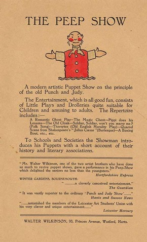 Flyer advertising 'The Peep Show', Walter Wilkinson, early 20th century