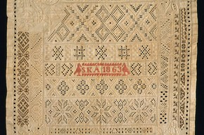 Sampler, Unknown, 1863. Museum no. 234-1869