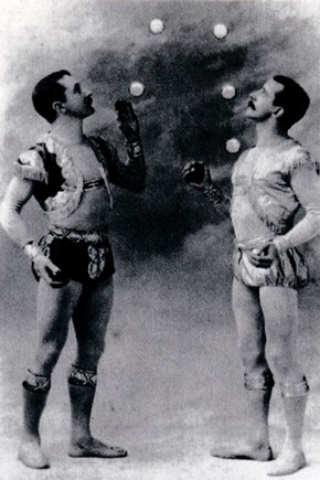 Fig.2. Alfred John Clarke and John Frederick Clarke juggling balls, about 1895. Museum no. 4.705.
