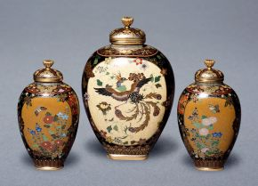 Group of lidded vases, Namikawa Yasuyuki, Japan, about 1880-90, cloisonné enamel vase decorated with butterflies, flowers and a central panel of a Ho-o bird. Museum nos. FE.60:1&2-2011, FE.61:1 to 4-2011, © Victoria and Albert Museum, London