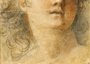 Figure 5 - Detail of Study for the head of an angel in the Dome of the Chapel at the Château de Sceaux, showing extension to sheet made by Pierre-Jean Mariette. Museum no. D.1103-1900, © Victoria and Albert Museum, London