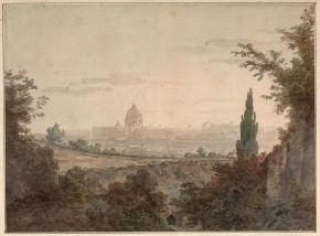 'St. Peter's in Rome: View from above the Arco Scuro, near Pope Julius' Villa', by William Pars (1742-82), 1777, Rome, Italy, watercolour. Museum no. P.31-1932, © Victoria and Albert Museum, London