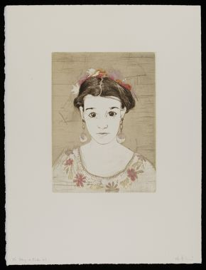 Ellen Heck: Rory as Frida #1, 2011, woodcut and drypoint Museum no. E.651:10-2014