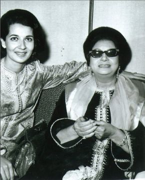 Naima Bennis and the famous Egyptian singer Umm Kulthum wearing one of Naima's designs, probably taken at the Hilton Hotel in Rabat, where the singer performed in 1968. © Victoria and Albert Museum, London/Part of the archival material donated to the V&A by the designer's daughter, Mouna Lotfi, in 2014