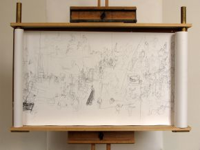 Liam O'Connor's drawing scroll mounted on an easel with rollers custom-built for work on the Exhibition Road building site