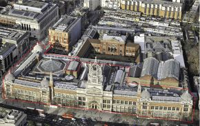 Bird's eye view of the Aston Webb extension, highlighting the full 12,120m2 footprint of the site. © Victoria and Albert Museum, London