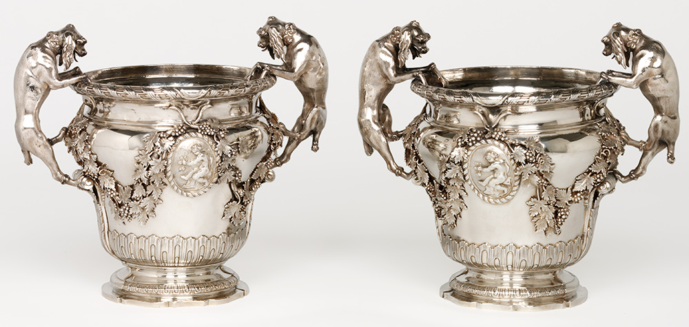 Pair of wine  coolers, 1777, Italy (Genoa) silver. The Rosalinde and Arthur Gilbert  Collection on loan to the Victoria and Albert Museum, London. Museum no.  Loan: Gilbert.745, 746-2008