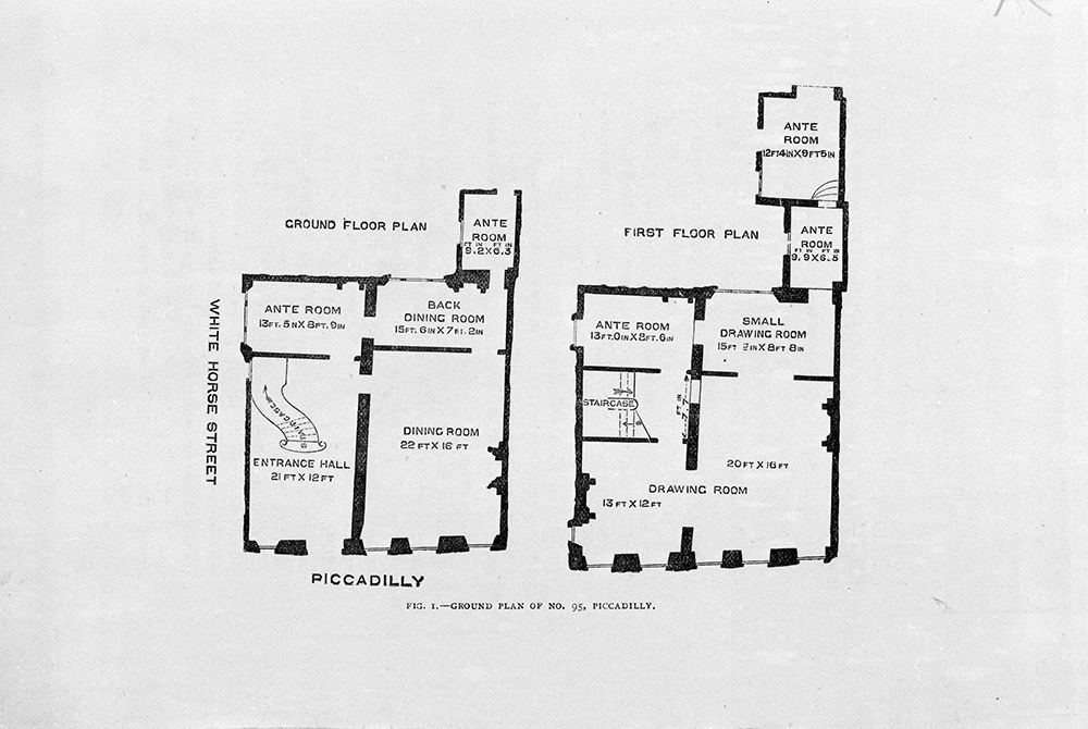 Floor plan of 95 Piccadilly, published in The Handbook of The Jones Collection in the South Kensington Museum (Chapman and Taylor, 1883). Museum no. NAL. 185.655.H, © Victoria and Albert Museum, London