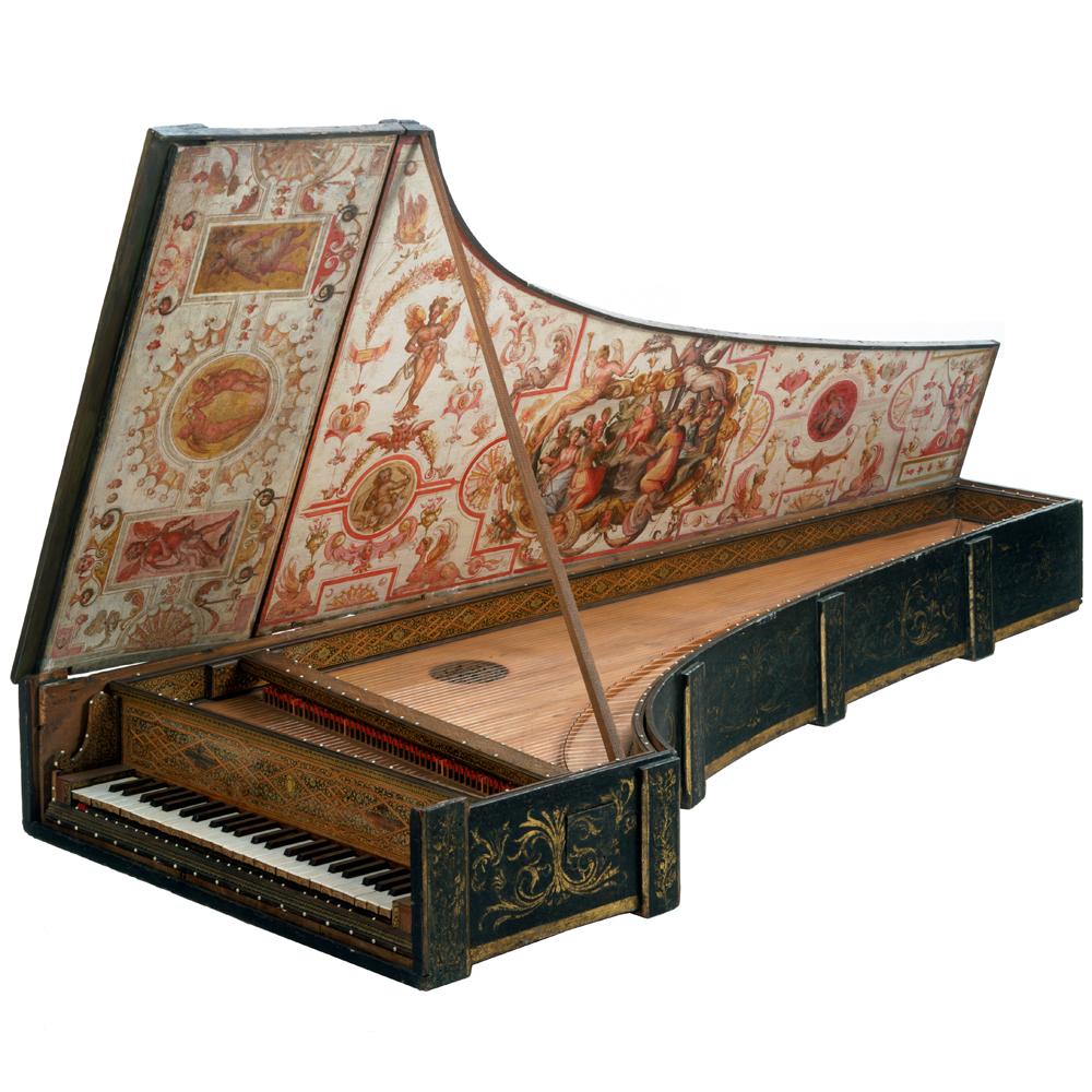 harpsichord with flemish strapwork twentieth century harpsichord    Handheld Harpsichord