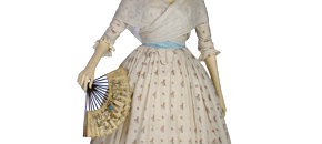 Interactive: Cotton Gown & Petticoat, by Unknown Maker, about 1785