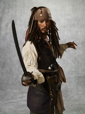 Johnny Depp as Jack Sparrow in 'Pirates of the Caribbean: At World's End', 2007, costume designed by Penny Rose. Walt Disney Pictures/The Kobal Collection