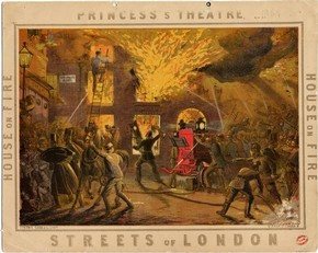 Advertising card for The Streets of London, Princess Theatre, coloured ink on paper, published by Concanen, Lee & Siebe, London, 1864. Museum no. S.2520-1986. © Victoria & Albert Museum, London