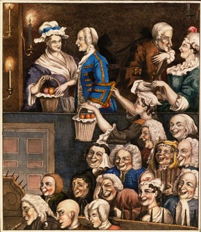 The Laughing Audience by Edward Matthew Ward (1816-1879) from an etching by William Hogarth (1697-1764) made in 1733, watercolour, pen and ink, England, 19th century, Harry Beard Collection. Museum no. S.4207-2009