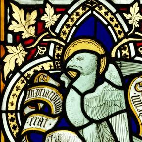 The Eagle of St John, stained Glass Panel, signed by Thomas Willement, 1845. Museum no.C.151-1980, given by Holy Trinity Church, Carlisle, UK