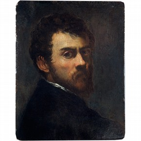 Self portrait as a young man, oil painting on pine panel by Jacopo Robusti Tintoretto, Venice, Italy, about 1548. Museum no.CAI.103 (oil)