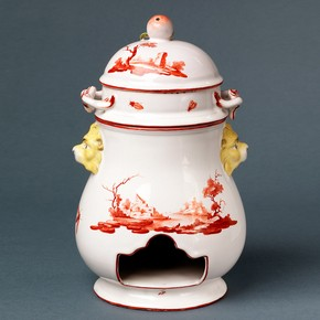 Food warmer or 'Veilleuse', made at the Niderviller pottery and porcelain factory, about 1775-1785. Museum no. C.258-1951