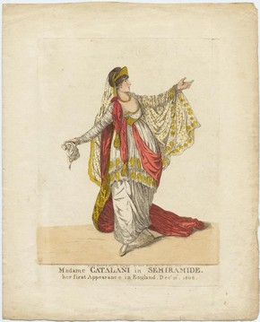 Angelica Catalini in the title role of Portogallo's opera Semiramide, King's Theatre, London, coloured engraving, December 1806