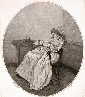 'Contemplating the Picture', stipple etching by John Raphael Smith, England, about 1781-4. Museum no. E.219-2002