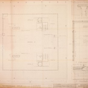 Architectural print of the plan of the Neue Nationalgalerie, Berlin, by Ludwig Mies van der Rohe, 1968. Museum no. E.3684-2007