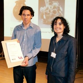 Timothy Letten receiving the Inspired by the Ceramics Gallery Prize from Marilyn Greene, Programme Manager