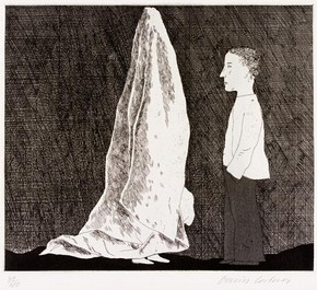 Figure 6 - 'The Sexton disguised as a Ghost', Six Fairy Tales from the Brothers Grimm, David Hockney, England, 1969-70, etching. Museum no. CIRC.152-1971