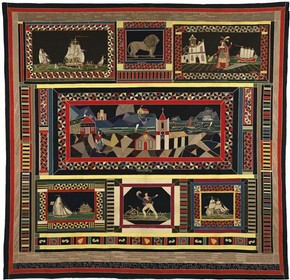 Figure 4 - &#39;Royal Clothograph&#39; table cover, John Monro, 1830-1840, intarsia patchwork in wool. Museum no. E.1979.101,  Culture and Sport Glasgow (Museums)