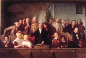 'The Village Choir' by Thomas Webster RA, about 1847, Museum no. FA.222