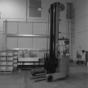 Figure 2. One of the electric forklifts used to move the palletised objects.