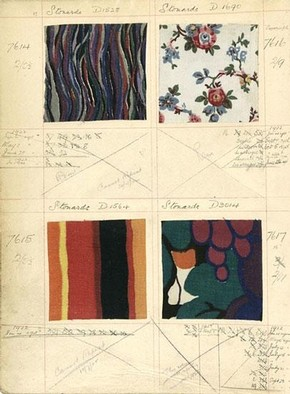Page from fabric sample album from Heal's, 1922. Museum no. AAD/1978/2/198/2