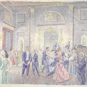 'Ballroom at the Shire Hall, Chelmsford' by Walter Bayes, about 1940, Museum no. E.1363-1949